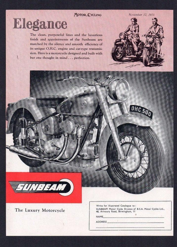 1953,1954 MODEL SUNBEAM S7 MOTORCYCLE 500 TWIN. MAGAZINE ADVERT.