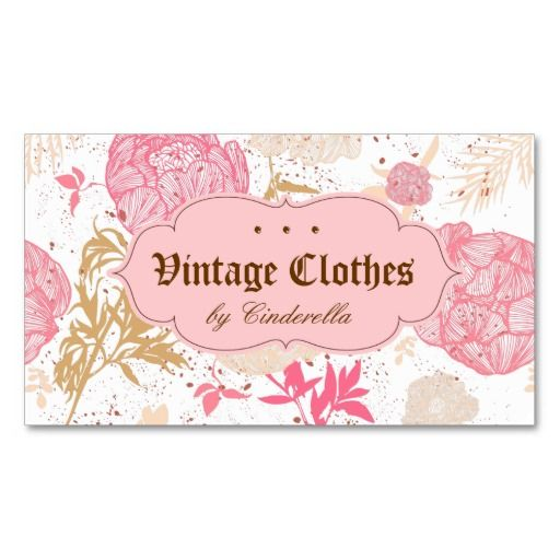 378 best business card templates branding images on pinterest vintage floral fashion clothing pink white cream business card template wajeb Image collections