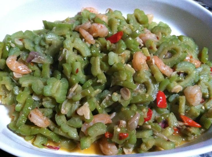 Oseng Pare with small shrimps