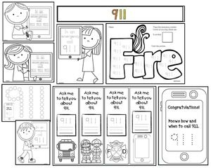 Fire Safety Activities:  911 activities: LOTS of sweet 911 worksheets, bookmarks, and crafts.