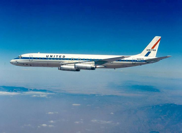 United Air Lines Douglas DC-8-62H N8967U in a promotional image around the time of it's delivery in June 1969. (Image: United Airlines)