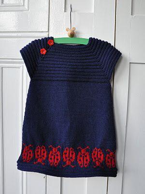 little sister's dress (http://www.ravelry.com/patterns/library/little-sisters-dress-kjole-til-lillesster), I love the lovely lady bugs!