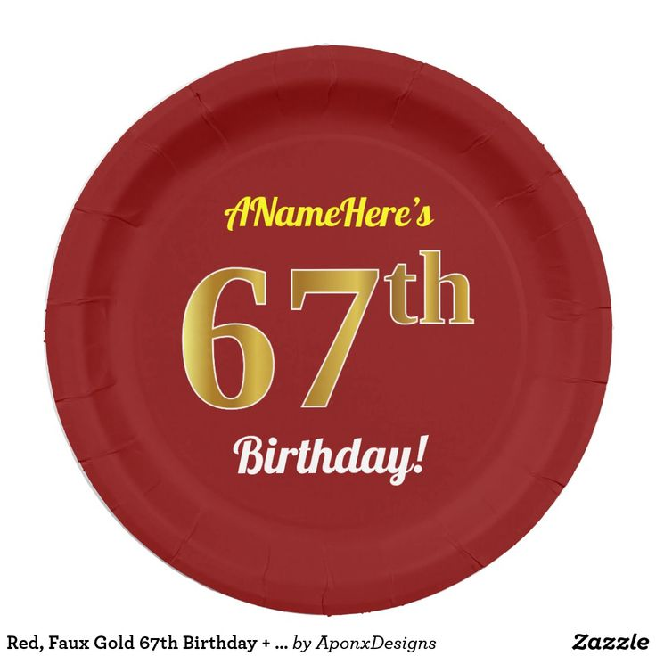 Red, Faux Gold 67th Birthday + Custom Name