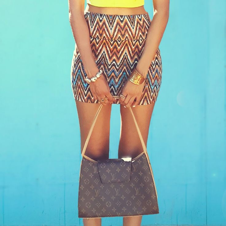 Blog Post : OOTD   Tribal Mini Skirt & Sleeveless Crop Top  Accessories and Louis Vuitton Bag