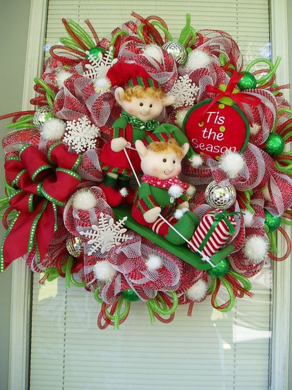 winter mesh wreaths | Deco Mesh Sledding Elves with Gifts Wreath Winter by ... | Wreath