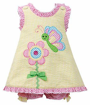 Bonnie Baby 12-24 Months Ruffle-Trimmed Appliqued Dress & Panty Set | Dillard's Mobile