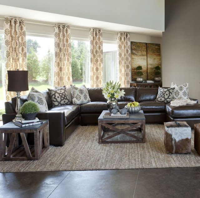 Living Room With My Marble Fireplace And Brown Couch See More Sectional In Center Instead Of Against The Walls Dark Neutral Curtains