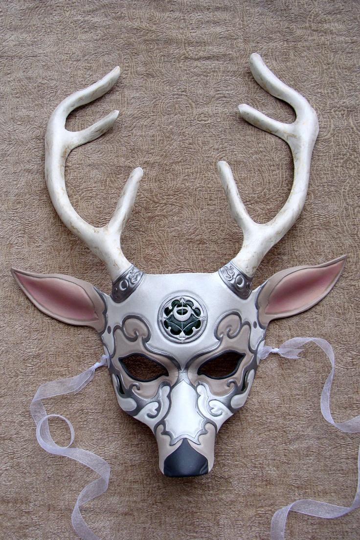 Made to Order: Greek Goddess of the Moon, Artemis Deer Leather Mask. $185.00, via Etsy.