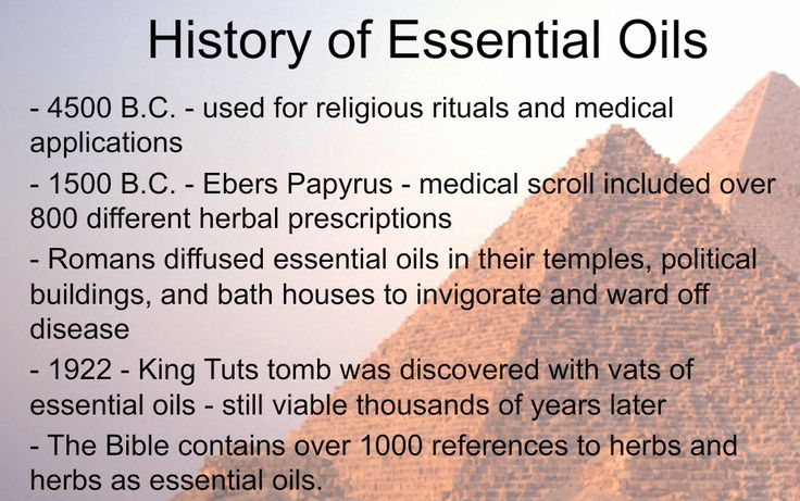 Very brief timeline about the history of essential oils