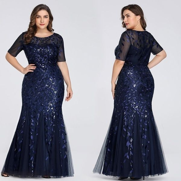 Ever-pretty Long Short Sleeve Sequins Dress Formal Evening Party Prom Plus Size