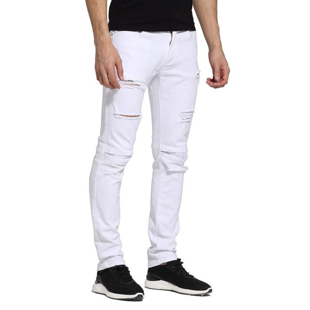 Promotion price Men White Jeans Fashion Design Ripped Destroyed Strech Skinny Jeans E1702 just only $18.40 with free shipping worldwide  #jeansformen Plese click on picture to see our special price for you