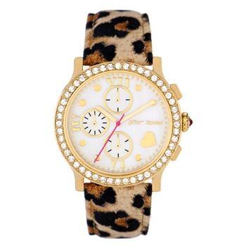 Betsey Johnson Boyfriend Chronograph with Leopard Leather Strap at Von Maur