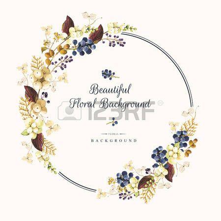 Natürliche Blumenmuster auf einem weißen Hintergrund. Aquarell realistische Beeren: Schneebeere, Hortensie, Thuja und wilde Trauben. Runder Rahmen. Lizenzfreie Bilder - 53456303