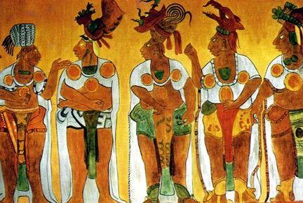 frescos de bonampak,mexico   Pintura mural de dignatarios mayas en Bonampak, Chiapas, México ...
