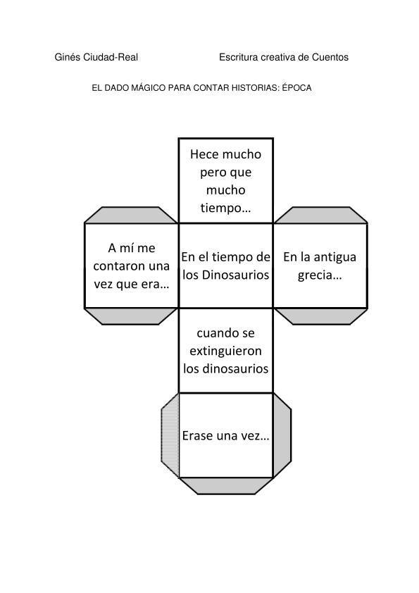 Colección de Dados mágicos para crear cuentos.  Muy bonita e innovadora actividad. DADO EPOCA-1
