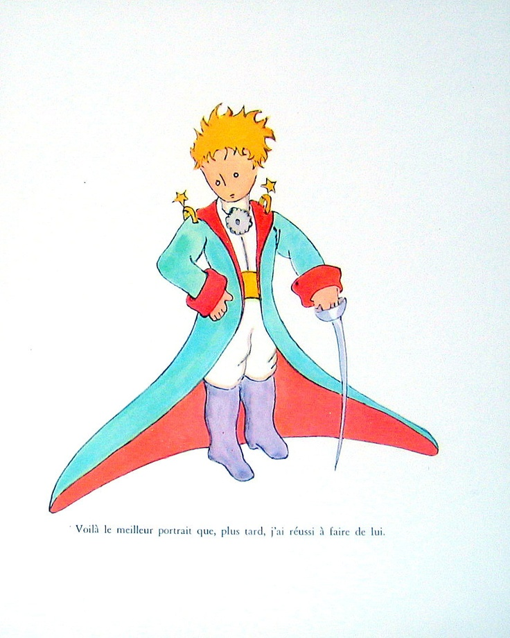 The Little Prince - Antoine de Saint-Exupery - French Caption - 1971 Vintage Children's Book Page Plate. $12.00, via Etsy.