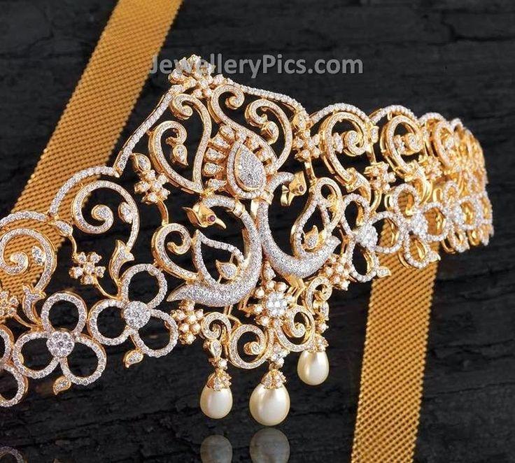 Beautiful Peacock shaped Diamond Vaddanam - Latest Jewellery Designs