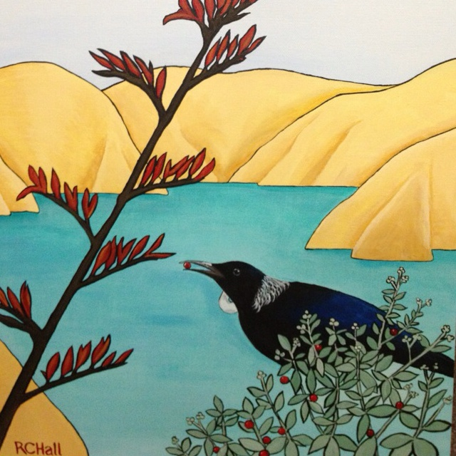 Feasting Tui - SOLD -by New Zealand Artist - Robyn Hall