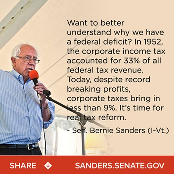 Bernie Sanders says tax share paid by corporations has fallen from 33% to 9% since 1952 | PolitiFact