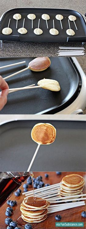 Put a little dish of syrup to dip them in. Genius.