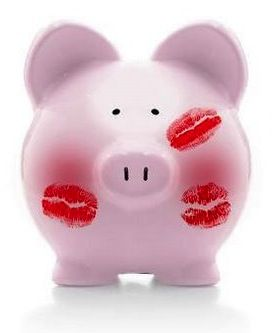 Pink Piggy Bank with Kisses