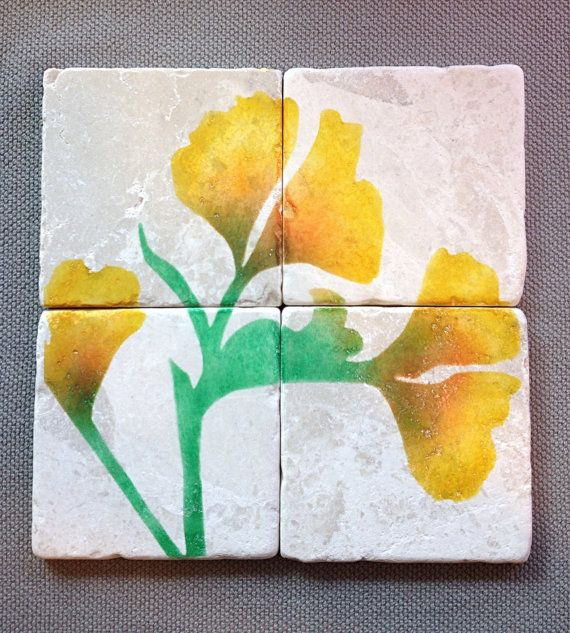 Gingko Leaf Coasters  Stone Tiles by DesignsbySylvan on Etsy