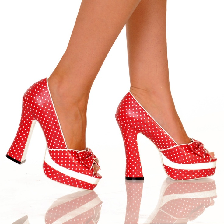 Toe Chunky Heel Platform With Polka Dot Upper-Red Polka Dot