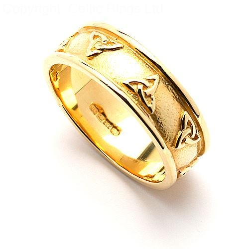 No matter the meaning that you assign to the Trinity knot, you and your beloved will adore the handsome Glanis wedding band. Cast in 14k white or yellow gold, this majestic ring beautifully displays a polished, beveled rim and series of Trinity knots elevated above a muted background. Named for the triad of mother-goddesses who were associated with healing springs, the Glanicae, this bold band proudly expresses the deep well of emotions that surge from a happy marriage.  The men