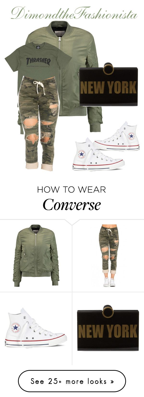 """""""Thrasher"""" by dimondthefashionista on Polyvore featuring Converse, W118 by Walter Baker and Kayu"""