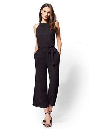 d4481c1e1f1 Shop Petite Black Halter Jumpsuit. Find your perfect size online at the best  price at New York   Company.