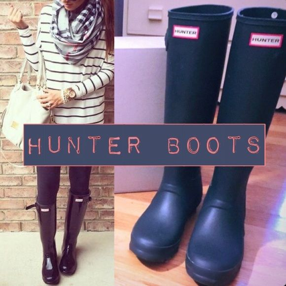 Navy HUNTER Boots-The Original Tall Authentic Tall Hunter Boots Like NEW in boxCOLOR: DARK NAVY Size 8/ UK 6/ EU 39. In Original box! Worn once to work, then got another pair as a gift! Excellent LIKE  Condition! Purchased via Victoria Secret website! Style # WFT1000RMA Hunter Boots Shoes Winter & Rain Boots
