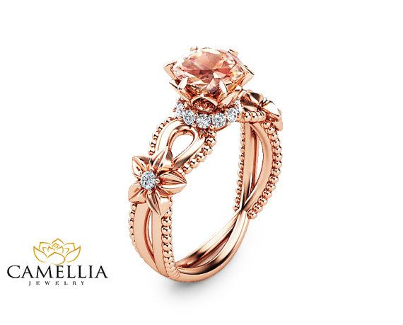 Peach Pink Morganite Engagement Ring Handmade by CamelliaJewelry