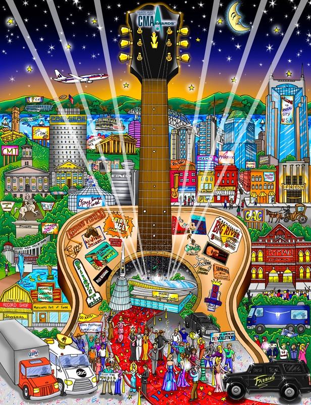 "The Country Music Awards, 200613"" x 16.75"" Artist Charles Fazzino"