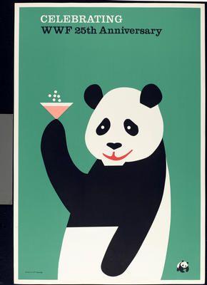 Tom Eckersley, 1986 Poster for World Wildlife Fund 25th Anniversary | #eckersley http://www.pinterest.com/richtapestry/retro-design/