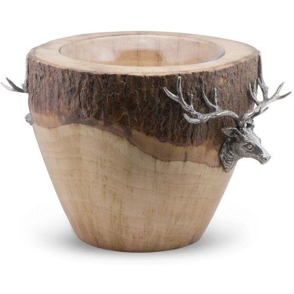 Vagabond House Natural Log Elk Ice Bucket ($415) ❤ liked on Polyvore featuring home, kitchen & dining, bar tools and vagabond house