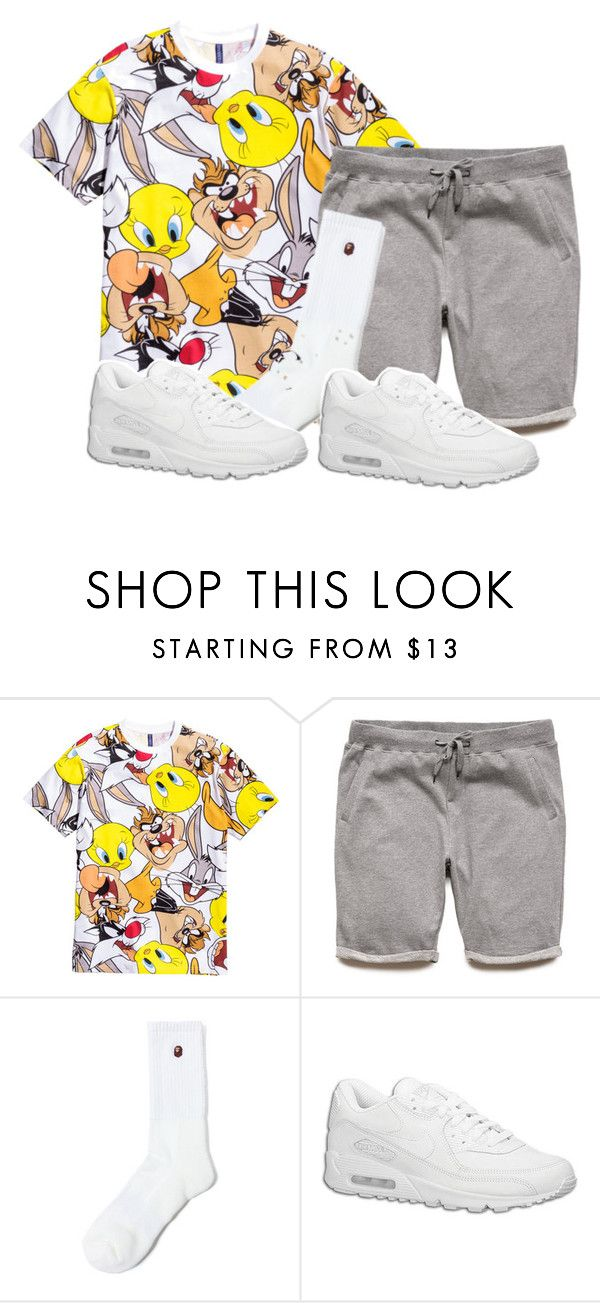 """""""Untitled #2139"""" by dreakagotswagg ❤ liked on Polyvore featuring H&M, 21 Men, A BATHING APE and NIKE"""