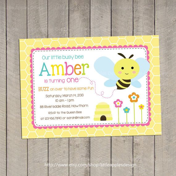 Bee Invitation / Bee Birthday Invitation / by LittleApplesDesign, $12.00