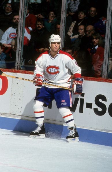 Russ Courtnall of the Montreal Canadiens waits for the pass during an NHL game in March 1991 at the Montreal Forum in Montreal Quebec Canada