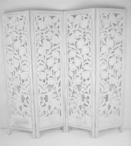 4 Panel Carved Indian Stag Deer Screen Wooden Screen Room Divider 176x184cm White Www
