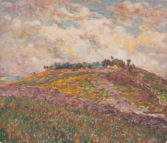 ANTONÍN SLAVÍČEK (1870-1910) Dry summer Suché léto (Krajina z Německé Rybné), 1908   olej, karton, 47,5 x 55,5 cm