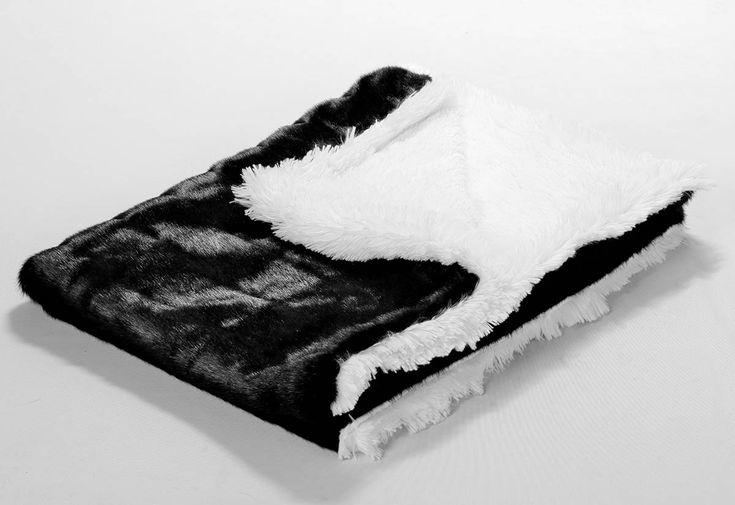 Black Mink/White Shag Blanket yvetteruta.com