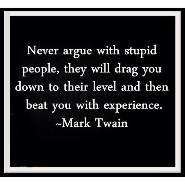 Never argue with stupid people, they will drag you down to their level and then beat you with experience. —Mark Twain