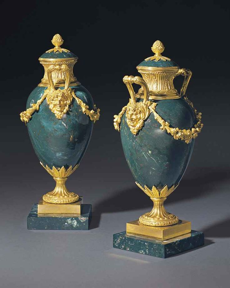 ca. 1790 - 1800 - Pair of Russian ormolu-mounted bloodstone urns,  France
