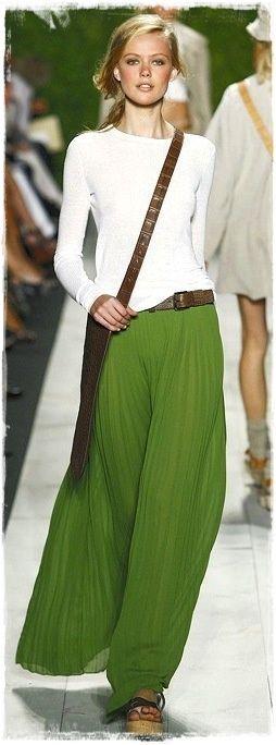 Michael Kors Kelly Green Fresh White T-Shirt