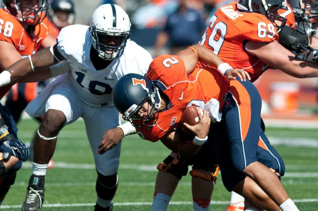 PENN STATE – FOOTBALL 2013 – Illinois will enter the Penn State game on the back end of a grueling month that sees it face Nebraska, Wisconsin and Michigan State. It could be out of gas, and the Nittany Lion fans will be especially fired up when Tim Beckman comes to town.  Chance of a Penn State Win: 76 percent