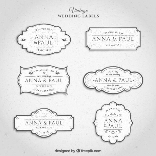 etiquetas de la boda de la vendimia en el color blanco Vector Gratis