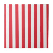Stripes - White and Red Small Square Tile | Zazzle