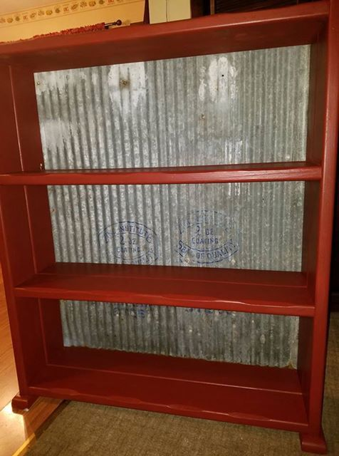 Diane Reif Painted Rustic Red On This Book Case And Used Old Galvanized Tin  From A