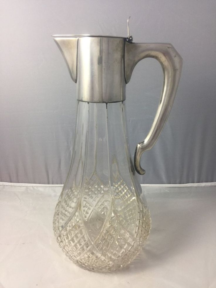 Antique claret jug with Austro-Hungarian. 800 silver mounts circa 1890 - 1900. Cut glass pitcher great for water or wine. The top of the lid has a monogram. Signed A Bachruch 41287 a hallmark in the shape of a tazza 800 then another hallmark which looks to be crescent moon shaped. | eBay!