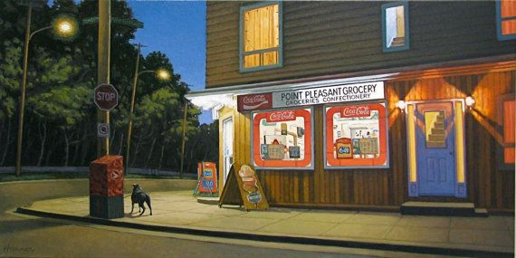 Point Pleasant Grocery 5 H x 10 W Offset Print by by PaulHannonArt, $20.00